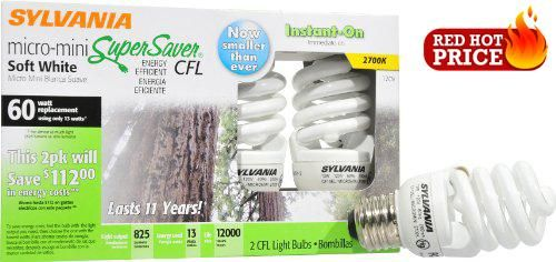 #shoponline #29727 Features: -Set of two bulbs.-82 CRI.-Eco friendly.-Micro mini #compact fluorescent bulb.-Medium base.-Brightness: 825 lumens.-Estimated Yearly ...