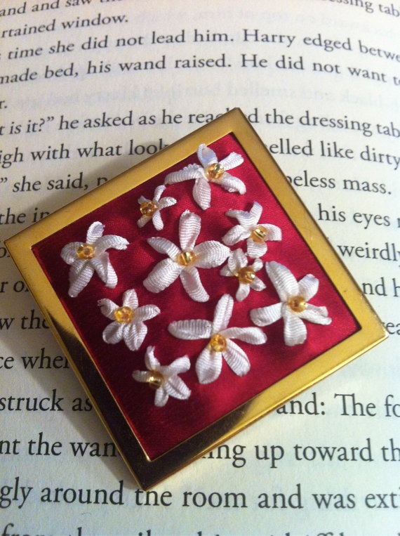 Embroidered Red and White Flower Pin/Brooch, Silk Ribbon Embroidery by BeanTown Embroidery