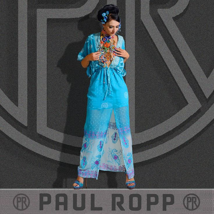 The Jada Dress is made of rayon chiffon with printed embroidery, georgette lining and hand made string beads.