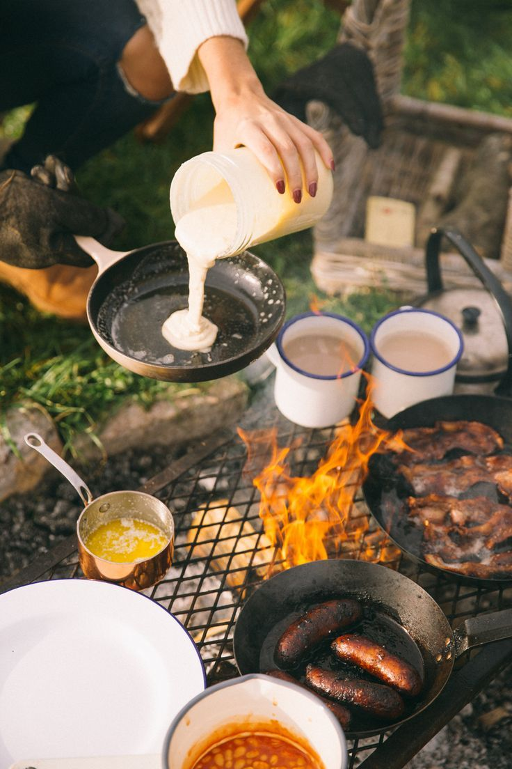 A glorious campfire breakfast. Um, yes please!