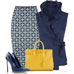 A fashion look featuring ruffled sleeveless blouse, pencil skirt and leather shoes. #blue