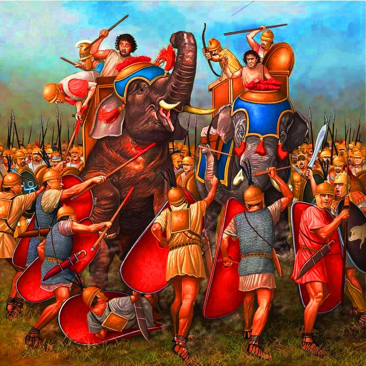 Battle of Cannae, Punic Wars - WRONG, HANNIBAL HAD ONLY 1 ELEPHANT LEFT BY THE TIME OF THAT BATTLE, AND THERE ARE 2 IN THIS PICTURE.