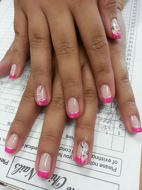 Hot pink tips and cute nail art design