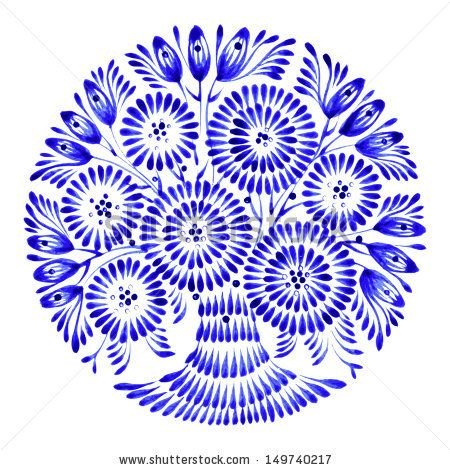 floral circle, hand drawn, illustration in Ukrainian folk style - stock vector
