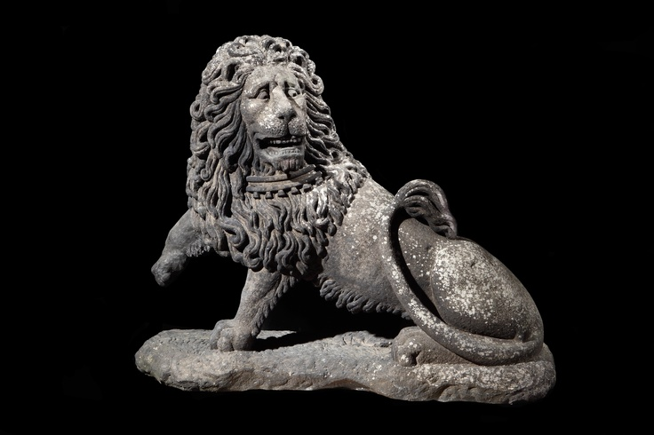 Masterpiece London. Robert Young Antiques  'Unique Monumental British Vernacular Carved Stone Lion Sculpture'