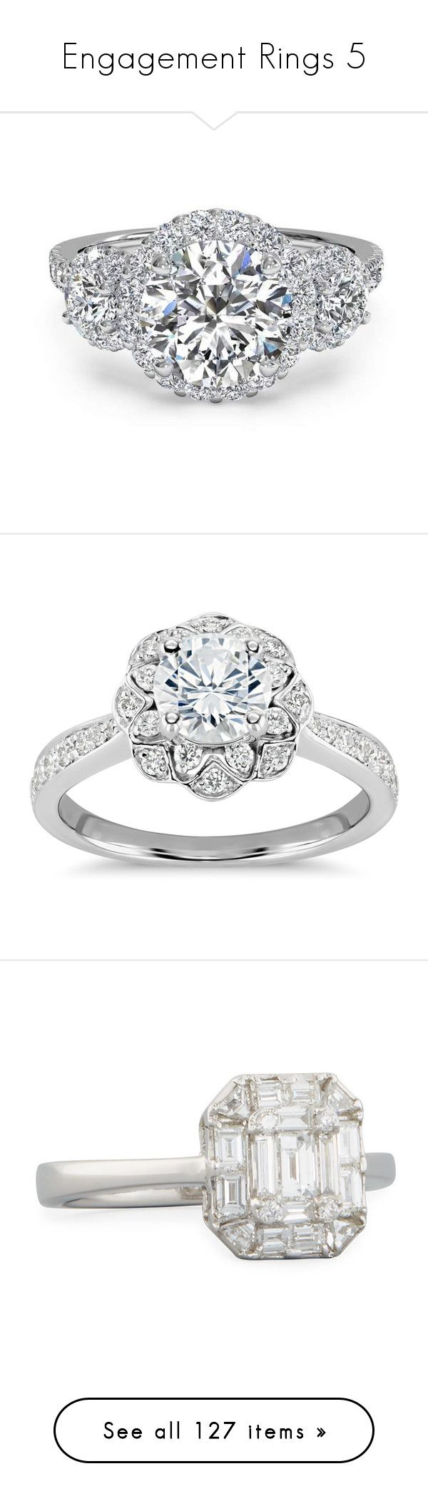 """Engagement Rings 5"" by enchantedrose33 ❤ liked on Polyvore featuring jewelry, rings, diamond rings, diamond engagement rings, round engagement rings, three stone diamond ring, 3 stone ring, accessories, engagement rings and diamond jewelry"