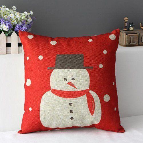 Snowman Pillow Case Home Decorative Cotton Linen Cushion Cover 18x18 Square Xmas #SnomanPillowcase