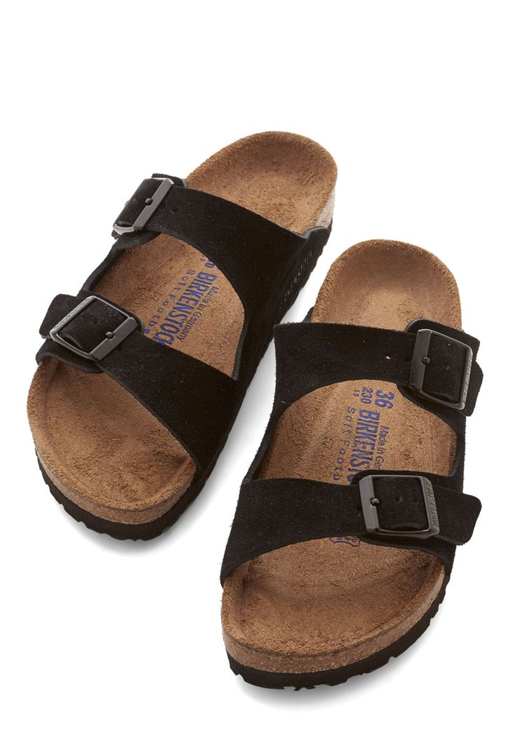 Strappy Camper Sandal in Black Suede. After your biggest backpacking achievement to date, you deserve to slip out of those hiking boots and rest your feet on the classic beds of these Birkenstock Arizona sandals! #black #modcloth