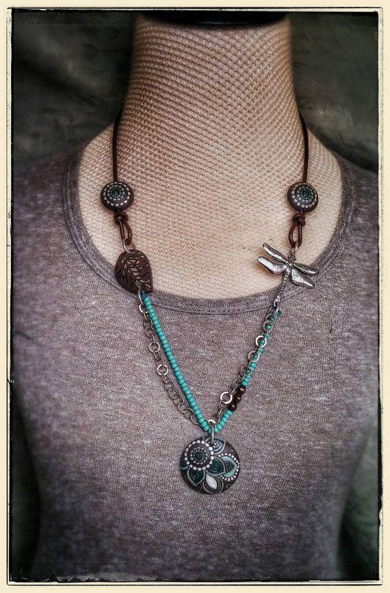 Boemia collana lunga Collana ciondolo in ceramica tecnica