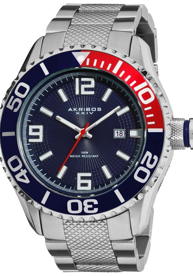 Price:$108.00 #watches Akribos XXIV AK511BU, The perfect Akribos XXIV symbolizes quality, style, and elegance. The rotating bezel and date window add functionality to this heavy duty watch. The bracelet is secured by a deployant clasp with a safety lock.