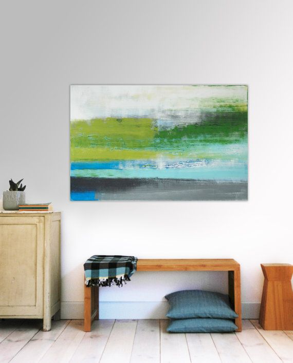 Large Abstract Schilderij  Green Horizon  Acrylic door RonaldHunter, $259,00