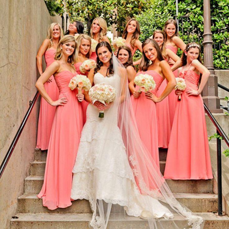Aliexpress.com: Acheter Simple chérie manches en mousseline de soie longue Coral couleur robes de mariée , Plus la taille robe de madrinha de casamento longo de taille 18 robes de demoiselle d'honneur fiable fournisseurs sur Asa Fashion Wedding Dresses