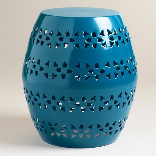 One of my favorite discoveries at WorldMarket.com: Mykonos Blue Floral Sonia Stool. I LOVE it!!!