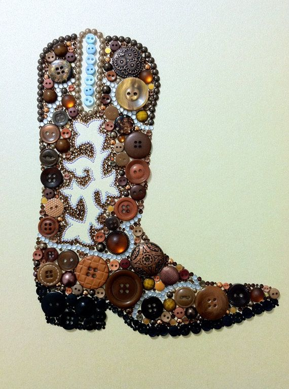 ButtonArtMuseum.com - Cowboy Boot Button Cowboy Boot Southwestern Art by BellePapiers, $104.00