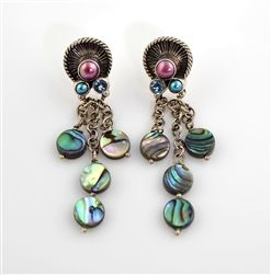 mars and valentine created flirty and fun earrings in sterling silver with abalone shell and tiny - Mars And Valentine