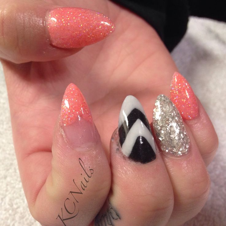 90 best nails images on pinterest make up nail designs and claw spunky nails stiletto nails coral silver acrylic chevrons black and white with prinsesfo Choice Image