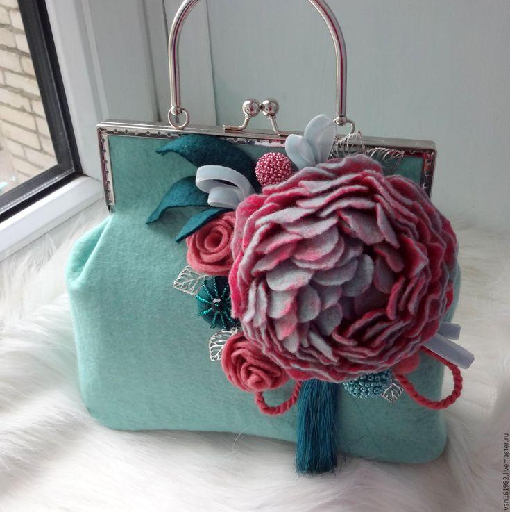 """Купить Сумка валяная """"Анабель"""" - разноцветный, сумочка, сумка, сумочка с фермуаром, валяная сумка"""