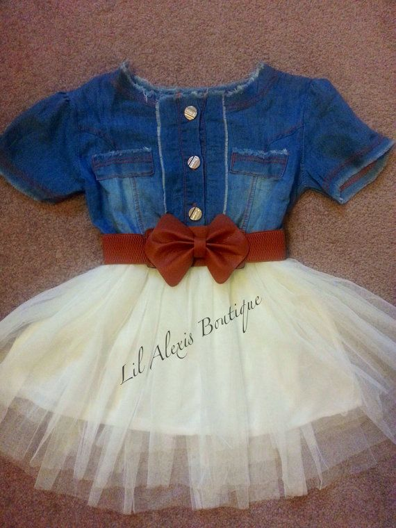 Blue jeans white tulle tutu skirt dress with by LilAlexisBoutique