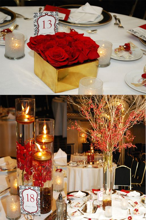Red Gold Wedding Flowers