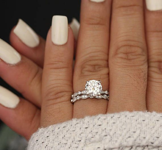 Wedding Ring Set, Moissanite 14k White Gold Engagement Ring, Round 8mm  Moissanite Ring, Diamond Milgrain Band, Solitaire Ring, Promise Ring  #solitau2026