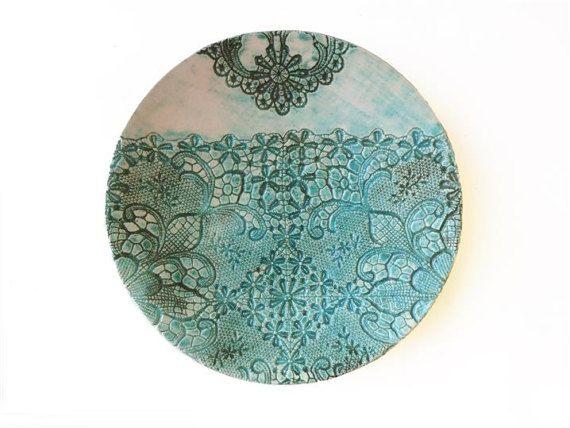 moderner Wand Teller smaragd grün Keramik Platte von ceralonata