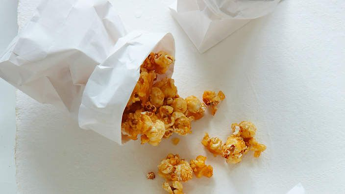 Caramel salted popcorn recipe from the food dept. (recipe by Sally Courtney, photography by Petrina Tinslay, styling by David Morgan and art direction by Anne Marie Cummins)