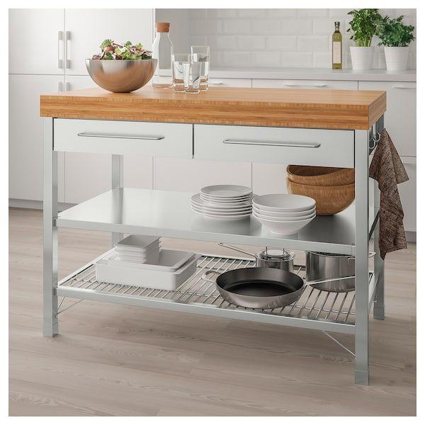Rimforsa Work Bench Stainless Steel Bamboo Ikea Kitchen Island Cart Ikea Countertops Kitchen Furniture