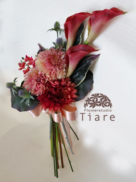 プリザーブドフラワーのウェディングブーケ 花工房Tiare(Flowerstudio Tiare)  カラーとダリアのアームブーケ(アーティフィシャルフラワー)
