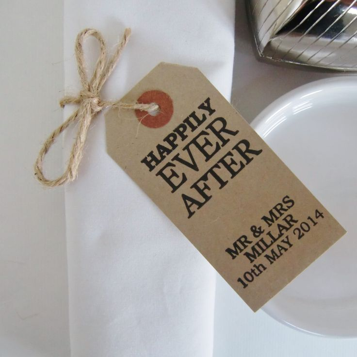 Rustic Wedding Rehearsal Dinner-Wedding Rehearsal-Vintage Style Tags-HAPPILY EVER AFTER-Personalized-Rehearsal Table Decor-Rehearsal Table by IzzyandLoll on Etsy https://www.etsy.com/listing/184945529/rustic-wedding-rehearsal-dinner-wedding