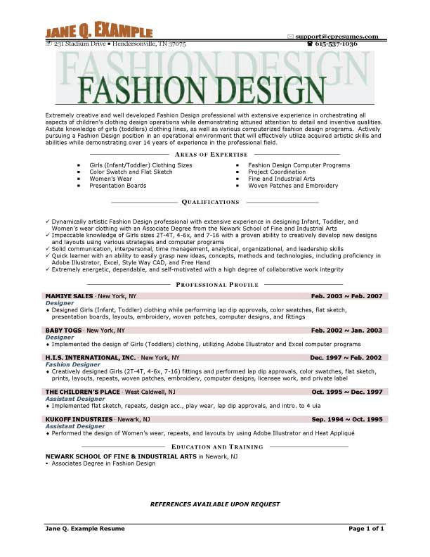 Fashion Designer Resume Example