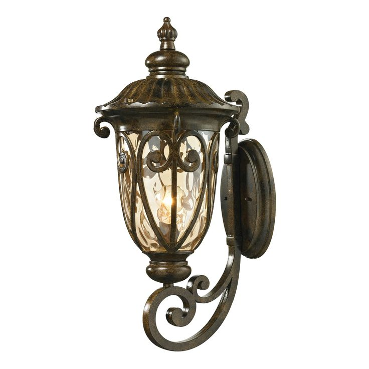 Off Logansport Hazelnut Bronze One Light Outdoor Wall Sconce By Elk Lighting Made From Cast Aluminum The Collection Has A Highly Decorative