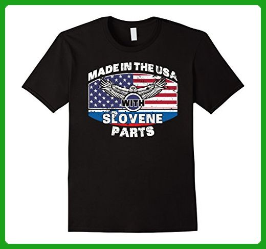 Mens Made With Slovene Parts Slovenia Flag Shirt 3XL Black - Cities countries flags shirts (*Amazon Partner-Link)