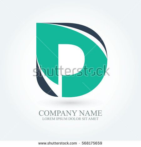 initial letter d creative circle logo typography design for brand and company identity. green and dark blue color