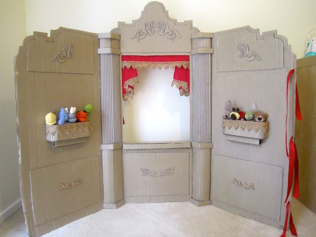 Shape of puppet theater frame (Prev pin:DIY Cardboard Puppet theatre by Mumaroo)