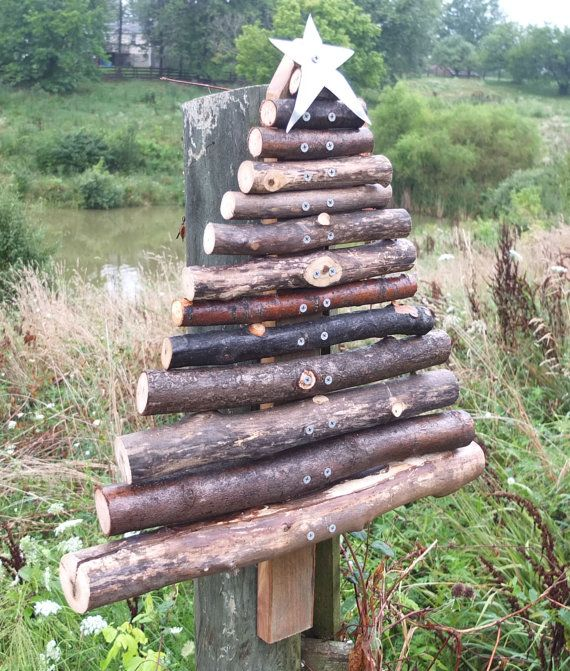 Rustic Barn Wood Christmas Tree Outdoor - Handmade From Reclaimed Wood & Tree Branches - rustic, primitive Christmas tree, rustic decor on Etsy, $60.00