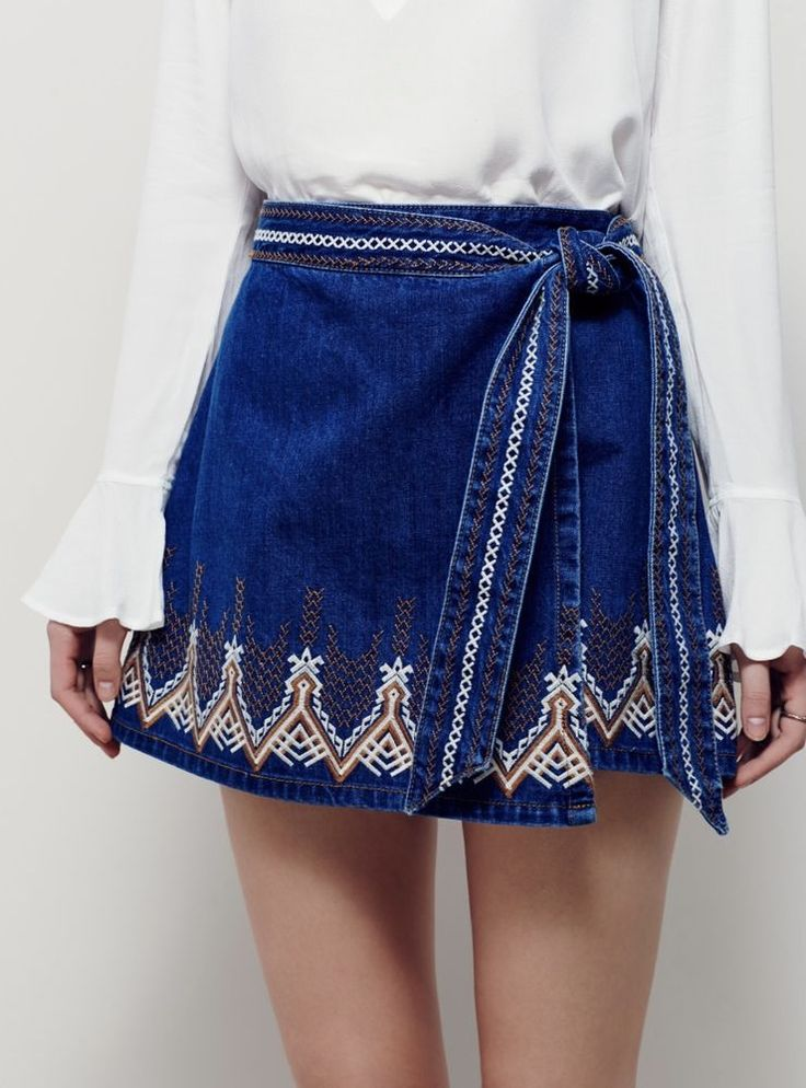 NEW Free People Denim tan Tribal Ethnic Embroidered Wrap Side Tie Skirt 4 #FreePeople #denimwrapskirt