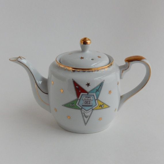 Masonic Order of the Eastern Star Lefton Teapot by VeejaysVintage