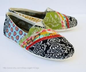 Tom\'s Fabric Covered Shoes STYLE 2 by JageInACage on Etsy