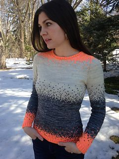 Pixelated Pullover is a contiguous set-in-sleeve sweater that has striking stranded color shifts flowing completely seamlessly from the top down, knit almost entirely in the round. The playful and flattering color work highlights the face and defines the figure. A perfect fit may be customized through the princess shaping.