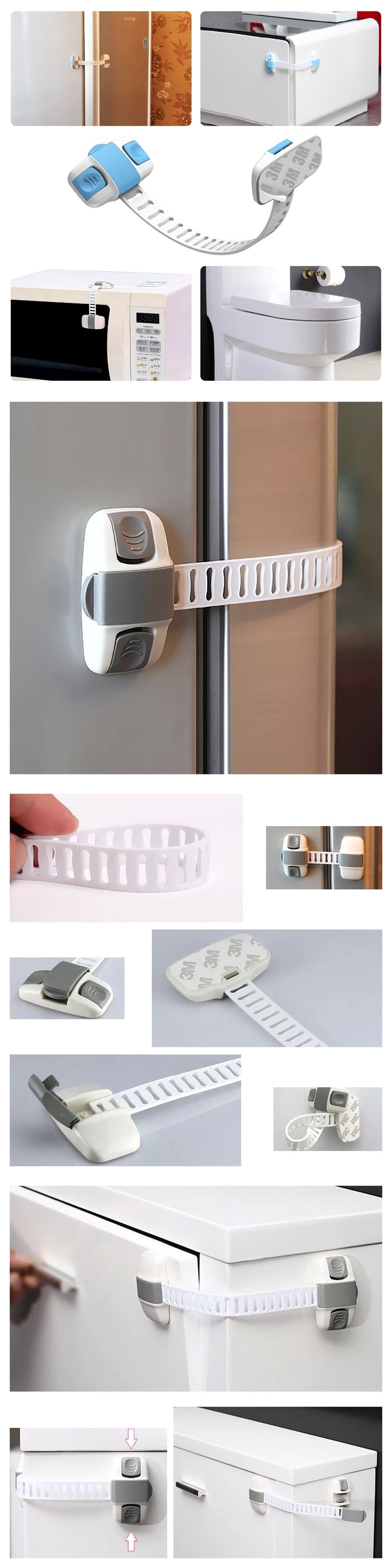 3Pcs/Lot Plastic Baby Safety Refrigerator Lock Adjustable Length Drawer Shoe Bathroom Bucket Cabinet Locks Kids Doors Protection