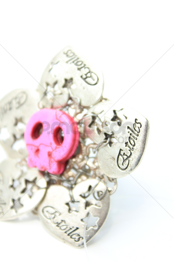 www.2madison.com  heart ornament, skull fuschia and nickel brass  Designer : Ana Jewelry  Collection : Colorfull Rock Collection