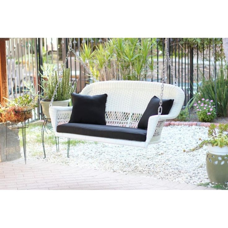 51.5 Hand Woven White Resin Wicker Outdoor Porch Swing With Black Cushion  #31556336, Patio Part 47