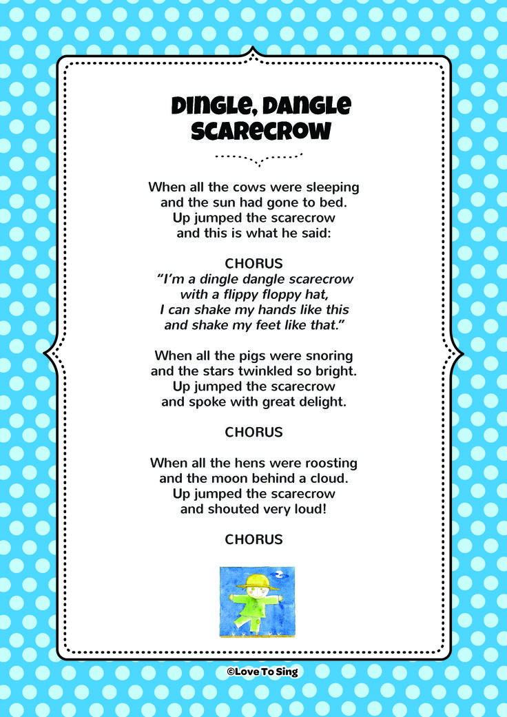 Dingle Dangle Scarecrow. Download FREE fun curriculum learning activities and FREE song lyrics from our website. Watch FREE videos! http://www.childrenlovetosing.com/kids-song/dingle-dangle-scarecrow/