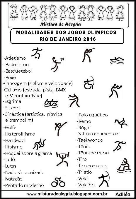 LISTA DAS MODALIDADES DOS JOGOS OLÍMPICOS DE 2016, IMPRIMIR-Mistura de Alegria                                                                                                                                                     Mais