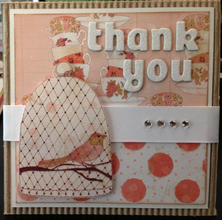 Thank you card using DCWV Garden Tea Party paper