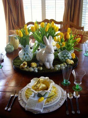 Yellow Easter - Easter centerpiece with yellow flowers, white rabbit, blue and white accents - for dining or coffee table