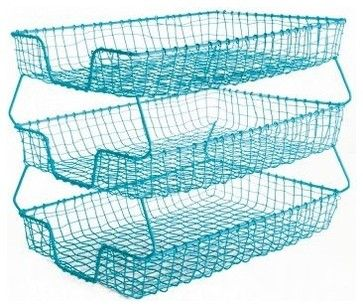 Wire 3-Tier Filing Tray, Turquoise eclectic desk accessories