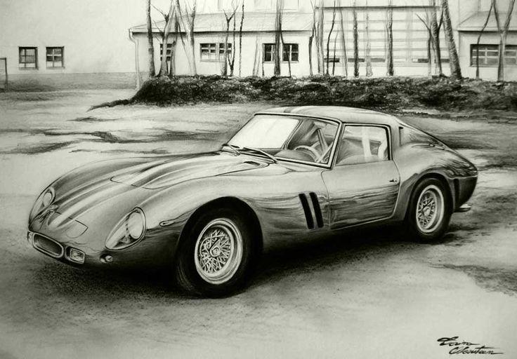 Ferrari 250 GTO - Desen în Creion de Corina Olosutean // Ferrari 250 GTO - Pencil Drawing by Corina Olosutean