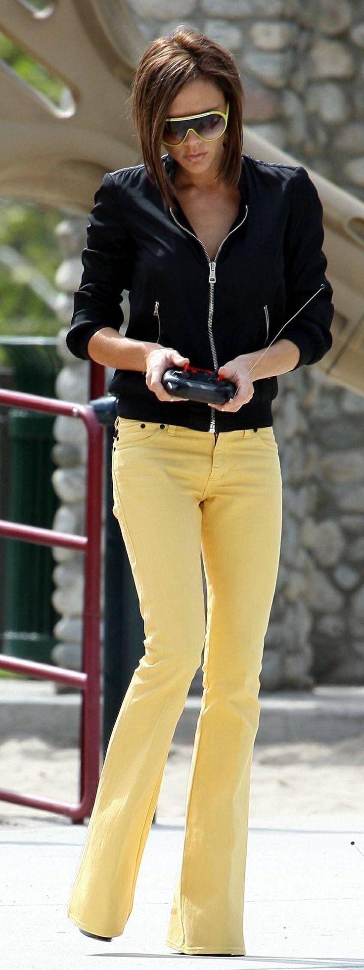 Victoria Beckham...yellow flare denim, black moto top