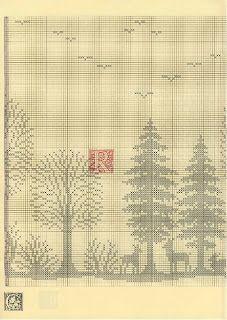 Szydełkomania: Lesny krajobraz. - filet